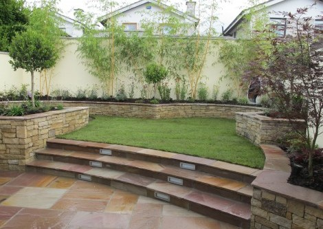 Split level garden design and landscaping