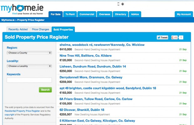 MyHome unveils Property Price Register feature